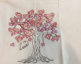 Kitchen Towel, 1 day ship, Heart love tree towel, Personalized towel, embroidered towel