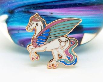 Trans Pegasus Rose Gold Hard Enamel Pin