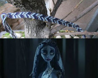"""Handmade bracelet or anklet based on """"The Corpse of the bride"""". Cotton threads."""