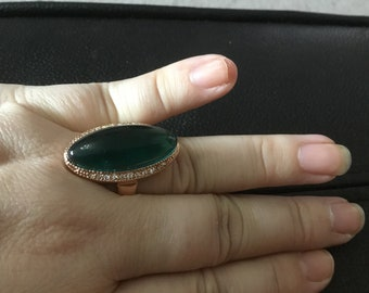 Green jelly stone ring size 19 europe