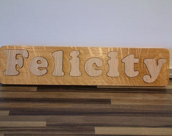 JIGSAW any name Personalised SOLID OAK WOODEN CHILDRENS NAME