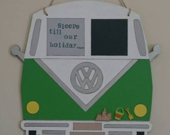 Wooden hanging vw campervan holiday countdown