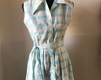 Vintage Size 10 Blue and White Button Down Sundress