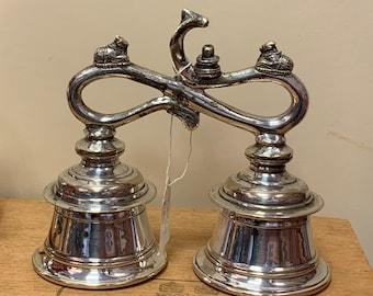 Rare white metal Tibetan temple bell