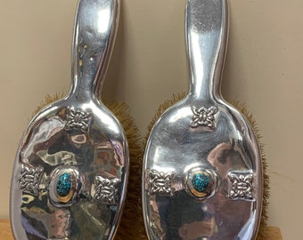 Archibald Knox designed pair of brushes Liberty and co solid silver 1903