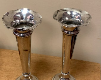 Pair of vale brothers solid silver stem vases