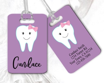 Happy Dental Smile Travel Luggage Tags With Full Privacy Cover Leather Case And Stainless Steel Loop