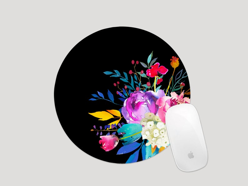 Blogger Gift Circle Mouse Pad Desk Accessories MP007 Watercolor Floral Mousepad Pink and Purple Floral Mouse Pad