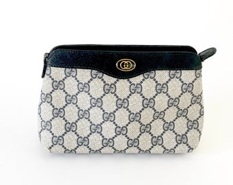 f91586c24 Authentic Gucci Bag | Vintage 80s Guccissima GG Monogram Leather Trim  Clutch | Vintage Blue Coated Canvas Gucci Cosmetic Bag