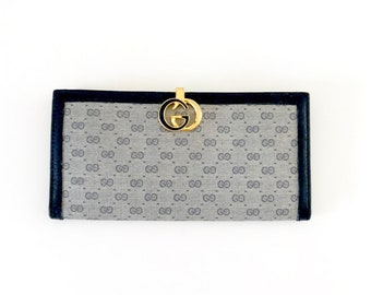 9b1035476339ca Gucci Wallet | Vintage 80s Gucci GG Monogram Wallet | Authentic GG Gold and  Blue Enamel Clasp Large Wallet