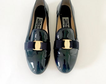 58db638611b32 RARE Ferragamo Shoes| Patent Leather Vtg Ferragamo Ballet Flats Loafers for  Women | Made in Italy Vintage Ferragamo Shoes