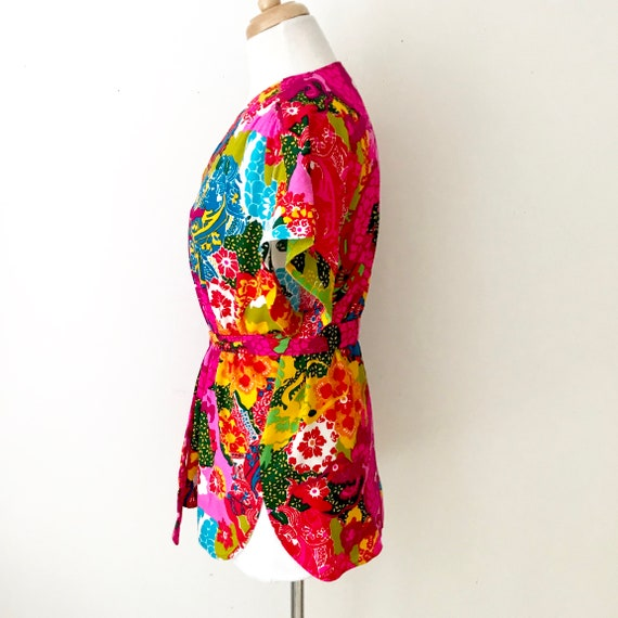 Novelty Print 60s Tunic Blouse | Vintage Psychede… - image 5