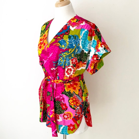 Novelty Print 60s Tunic Blouse | Vintage Psychede… - image 2