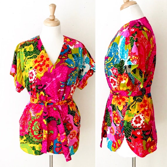 Novelty Print 60s Tunic Blouse | Vintage Psychede… - image 1