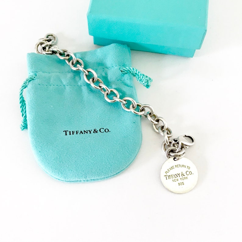 205ac904254ac Vintage Tiffany and Co. 925 Sterling Silver Round Charm Pendant Chain Link  Bracelet | Graduation Gift | Bridesmaid Gift
