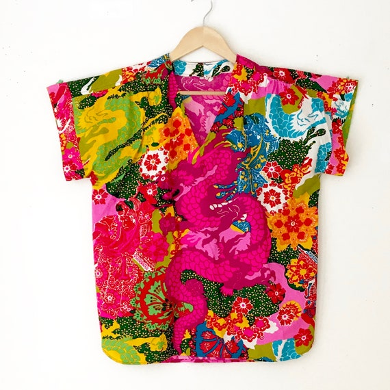 Novelty Print 60s Tunic Blouse | Vintage Psychede… - image 3