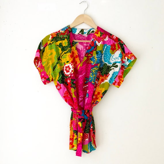 Novelty Print 60s Tunic Blouse | Vintage Psychede… - image 10