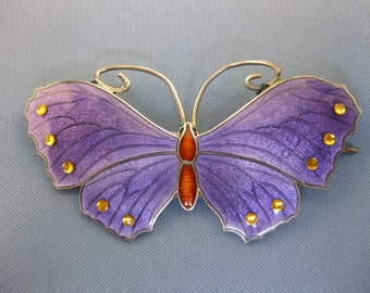Sterling silver stunning enamelled butterfly brooch by John Atkins & Sons.
