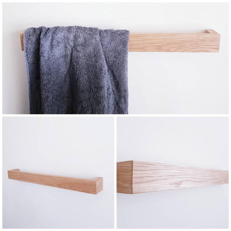 MODERN TOWEL RAIL  handmade  solid hardwood  clean  image 0