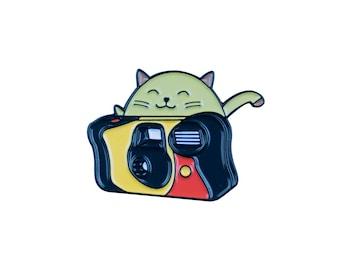 Camera Cat Soft Enamel Pin