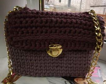 Knitted Handmade Purple Bag