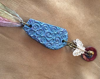 Polymer clay, #polymerjewelery, #upcycled, #upcycledjewelery, #iridescent, #butterfly, #pink&blue, #organza, #shabbychic, #handmade, #charms