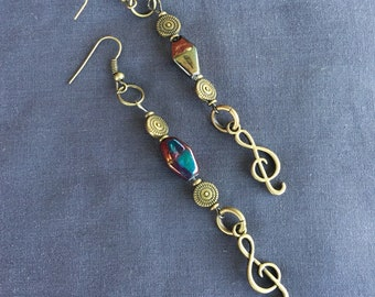 Art Deco Style Beaded Earrings with Treble Clef   Music Style!!