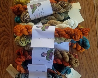 Mystery Halloween Minis (mini skein set) Hand dyed sock yarn, Fingering weight, 20 gram minis, Superwash Merino yarn
