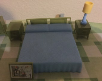 Vintage Miniature Dollhouse Furniture Bedroom