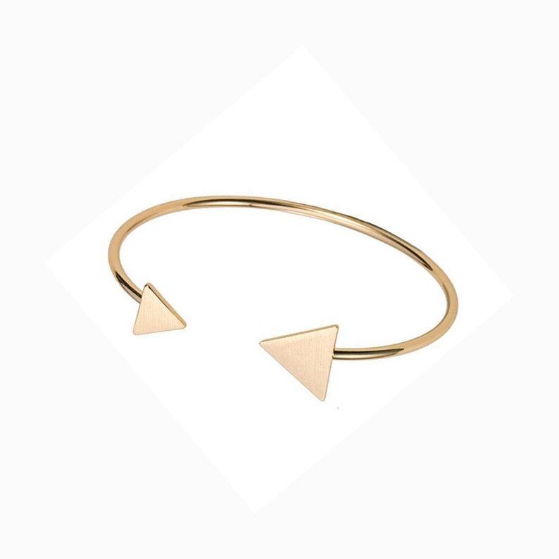 Gold or Silver Initial Bangle  with triangle ends Personalised