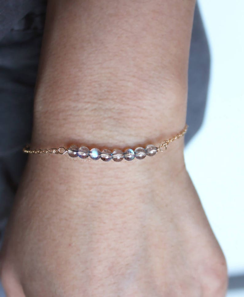 Birthstone Bracelet Dainty Bracelet Genuine moonstone \u2022 Personalized Gifts \u2022 Gold filed  \u2022 Rose gold filled  \u2022 sterling silver