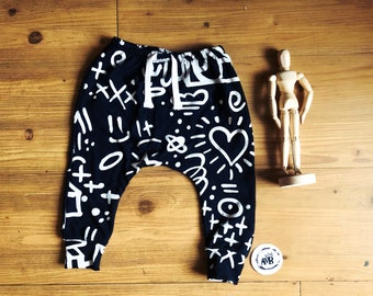 white doodles black baby and child slim fit harem-baby boy pants-hipster baby clothes- monochromatic-toddler boy pants-boy joggers-baby boy
