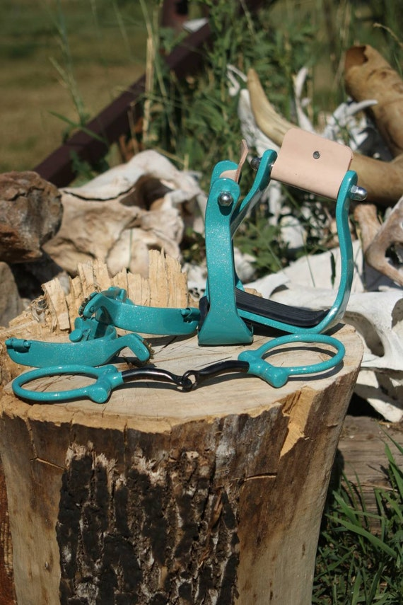 Turquoise Stirrups Spurs and Snaffle Bit