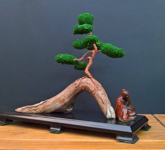Twisted Copper Wire Bonsai Sculpture Mounted To Driftwood Etsy