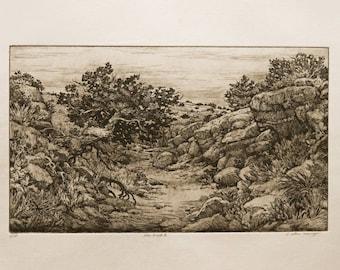 The Bend II  - tree, arroyo, landscape etching.