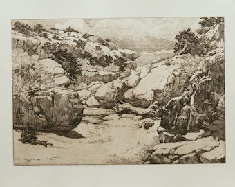 Down Canyon -- desert landscape, canyon, trees, rocks, original etching.