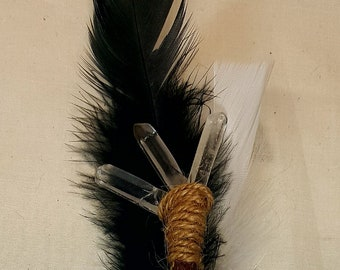 Black and White Feathered Wand