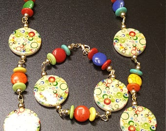 Candy Colored Necklace and Bracelet Set
