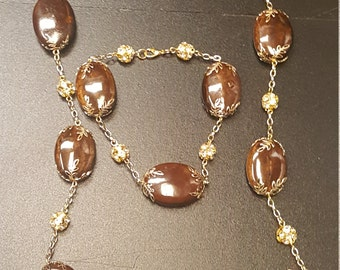 Brown Necklace , Gold and Brown Necklace Set, Plus Size Jewelry