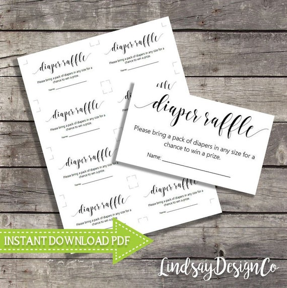 Printable Black And White Diaper Raffle Ticket Insert For Baby Shower Pdf File Instant Download