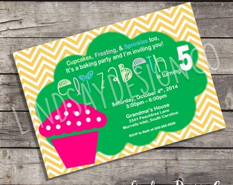Baking Cupcakes Themed Girl's Birthday Party Invitation - Digital or Printed