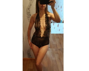 c5bcfe017d Bodysuit  Cute mesh womens lace handmade bodysuit   Womens body suit    Women s bodysuit   Sexy nighties nightgown night gown nightwear women