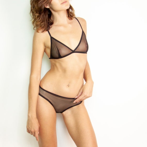 72ec180f360 Black transparent lingerie See through mesh intimates Women