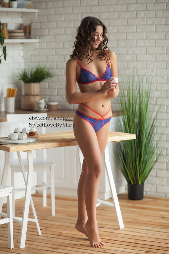 7aa7490268 Sexy sheer mesh intimates Blue lingerie set Erotic gift for