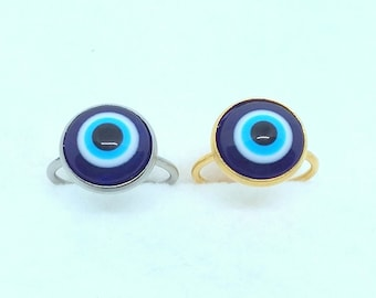 12mm Evil Eye Adjustable Ring In Gold Or Silver (Made To Order)
