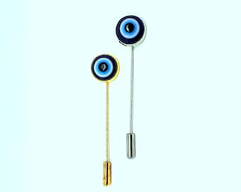 12mm Evil Eye Silver Or Gold Tone Stick Pin Brooch (Made To Order)