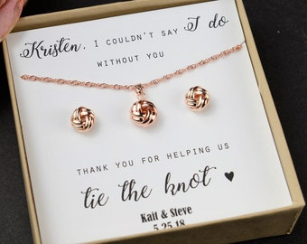 Knot Earrings Bridesmaid Gift Earring Necklace Set Rose Gold Sets Love
