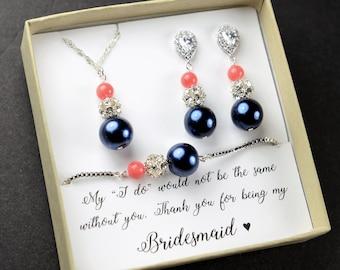navy blue coral Wedding Jewelry Bridesmaid Earrings Jewelry Earrings Sapphire Navy Blue Gold Teardrop Bridal Earrings bridesmaid gift set 6