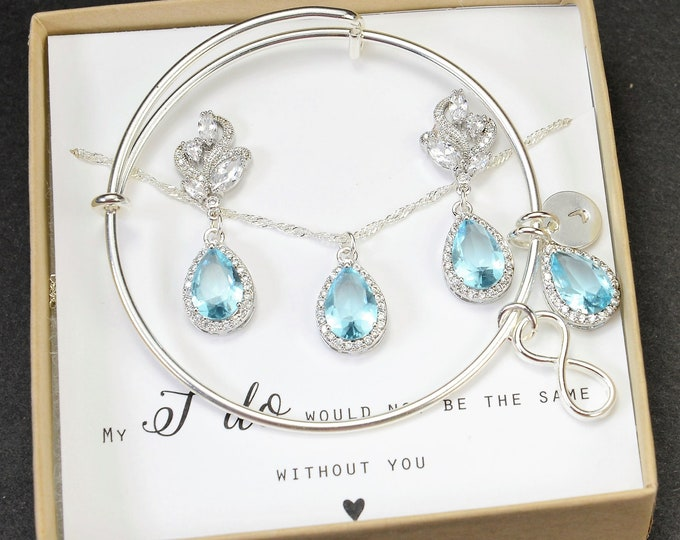 Featured listing image: Something blue aquamarine blue  beach Bridesmaid Earrings Bridesmaid Jewelry blue Bridesmaid Gift Set Bridal Jewelry Set Bridal Earrings