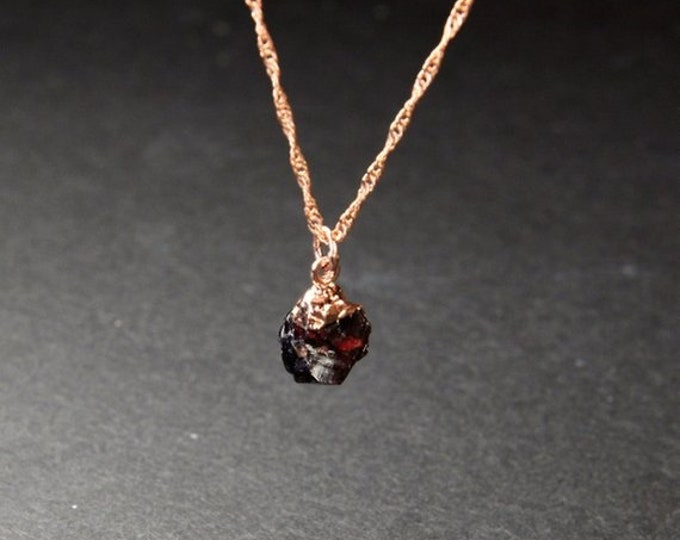 Featured listing image: Garnet January birthstone Raw Crystal Necklace Rough Stone  Necklace birthstone Pendant Raw Stone Mothers Christmas gifts